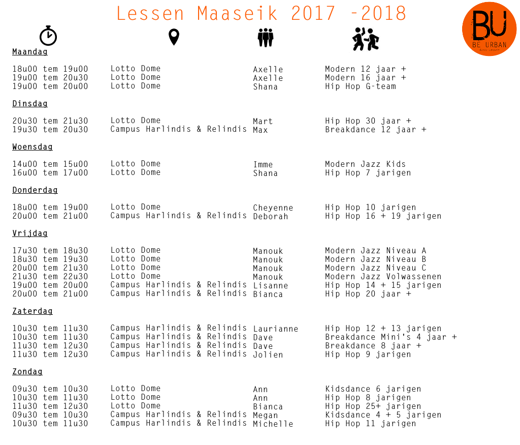 Lessen Maaseik 2017 2018 update november