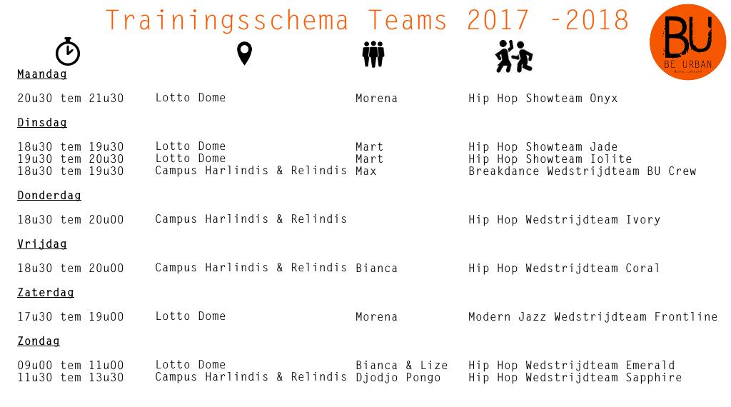 Trainingsschema 2017 2018 februari